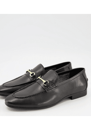 Silver Street wide fit metal trim loafers in black leather