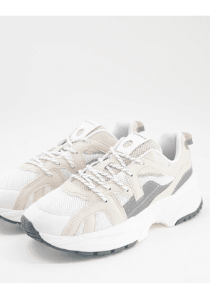 Bershka chunky trainer in sand with grey detailing-Neutral