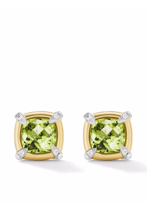 David Yurman 18kt yellow gold and sterling silver Châtelaine peridot and diamond stud earrings