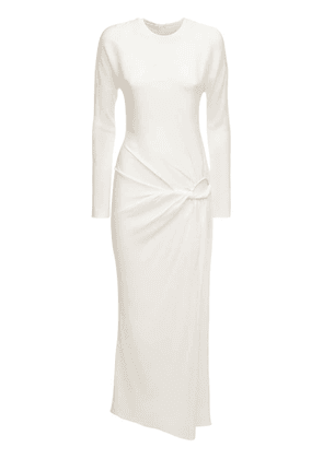 Rouched Viscose Long Sleeve Dress