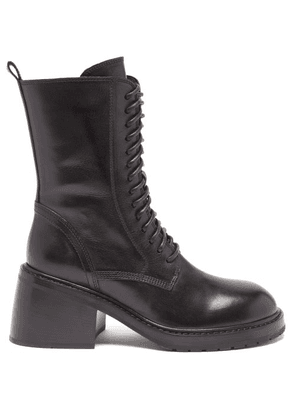 Ann Demeulemeester - Lace-up Block-heel Leather Ankle Boots - Womens - Black