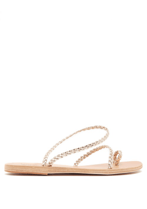 Ancient Greek Sandals - Eleftheria Braided Leather Sandals - Womens - Gold