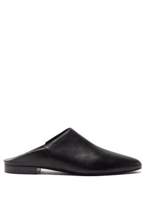 Co - Point-toe Leather Backless Loafers - Womens - Black