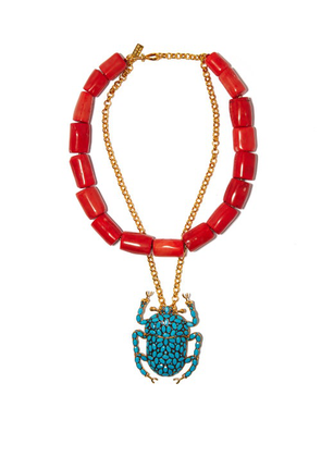 Begum Khan - Scarab Beaded & 24kt Gold-plated Layered Necklace - Womens - Multi