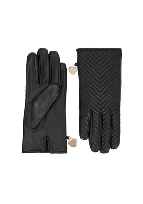Dents Zara Black Quilted Leather Gloves