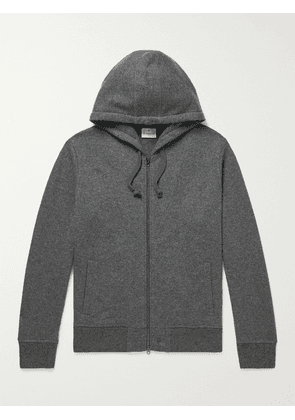 Kingsman - Logo-Embroidered Brushed Cashmere Zip-Up Hoodie - Men - Gray - XS