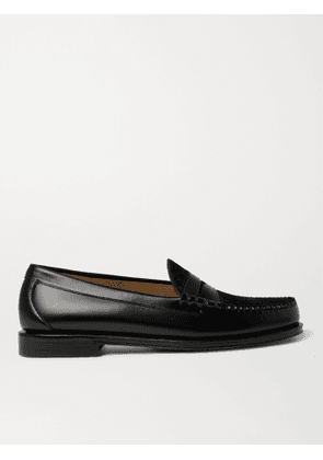 G.H. Bass & Co. - Weejuns Heritage Larson Calf Hair-Trimmed Leather Penny Loafers - Men - Black - UK 5
