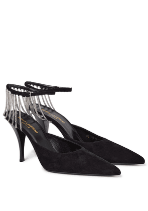 Sling chain-trimmed suede pumps