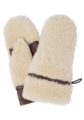 Shearling and leather mittens