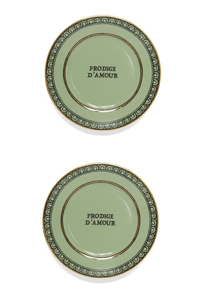 Gucci - Set Of Two Prodige D'amour Porcelain Bread Plates - Womens - Light Green