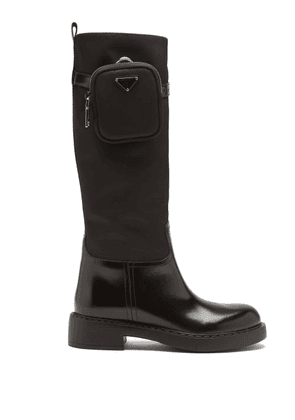Prada - Pouch Leather And Nylon Knee-high Boots - Womens - Black