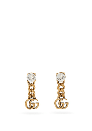 Gucci - GG Crystal-embellished Drop Earrings - Womens - Crystal