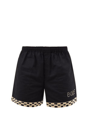 Bode - Checkerboard-embroidered Cotton-canvas Shorts - Mens - Black