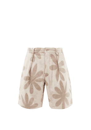 Jacquemus - Floral-print Pleated Wool-blend Shorts - Mens - Beige