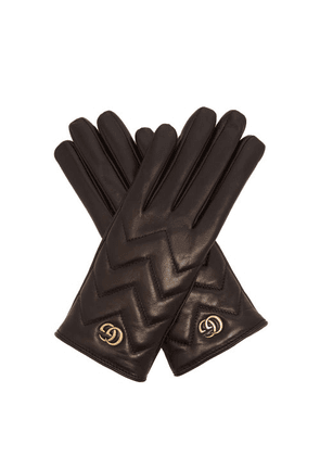 Gucci - GG Marmont Chevron-quilted Leather Gloves - Womens - Black
