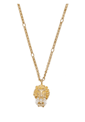 Gucci - Lion-head Crystal-embellished Necklace - Womens - Gold