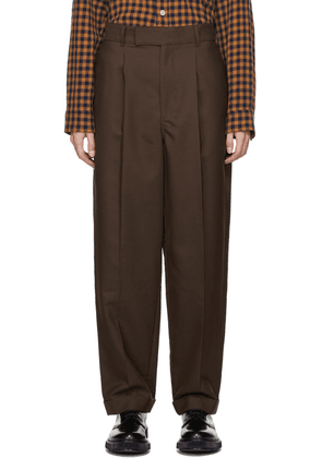 BED J.W. FORD Brown Wool & Mohair High Waist Trousers