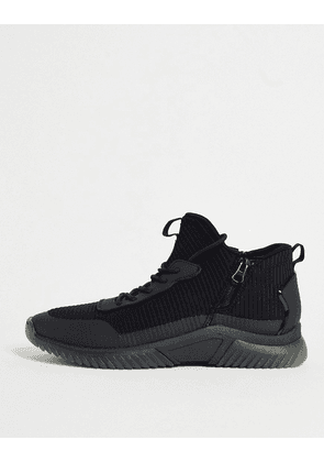 Aldo athletic sole trainers with side zip in black