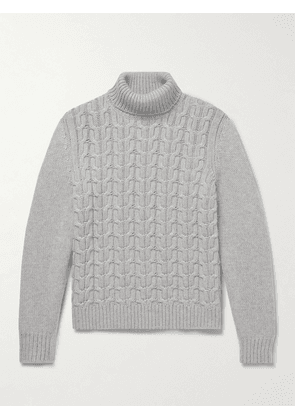 Canali - Cable-Knit Cashmere Rollneck Sweater - Men - Gray - IT 46