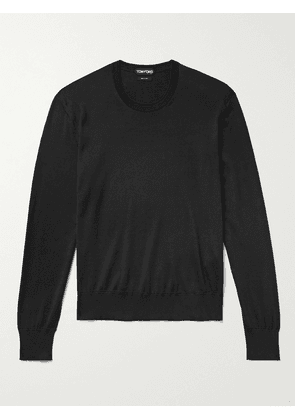 TOM FORD - Velour-Trimmed Silk and Cotton-Blend Sweater - Men - Black - 46