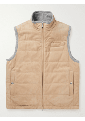 Brunello Cucinelli - Reversible Quilted Suede and Cashmere Down Gilet - Men - Neutrals - L