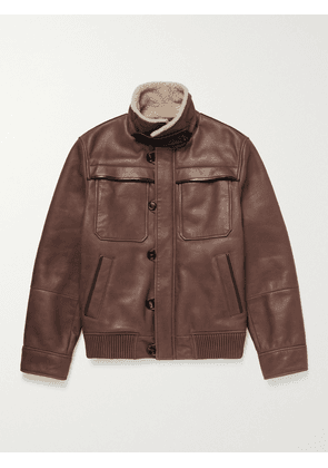 Brunello Cucinelli - Shearling-Lined Leather Jacket - Men - Brown - M
