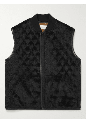 Agnona - Leather-Trimmed Quilted Alpaca and Wool-Blend Gilet - Men - Black - IT 46