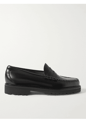 G.H. Bass & Co. - Weejun 90s Smooth and Croc-Effect Leather Penny Loafers - Men - Black - 6