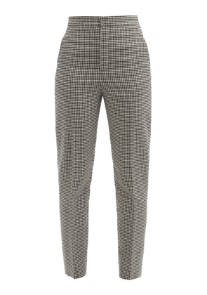 Saint Laurent - Houndstooth-check Wool-blend Twill Trousers - Womens - White Black