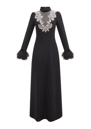 Andrew Gn - Crystal-embellished Feather-cuff Crepe Gown - Womens - Black Silver