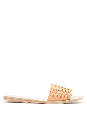 Ancient Greek Sandals - Taygete Woven-leather Slides - Womens - Tan
