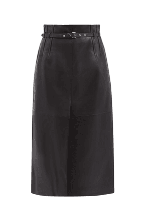 REDValentino - Belted Leather A-line Skirt - Womens - Black