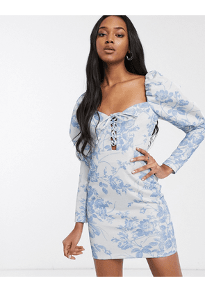 ASOS DESIGN foil floral printed lace up puff sleeve bodycon mini dress-Multi