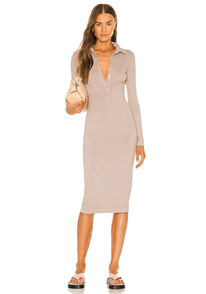Enza Costa Rib Knee-Length Polo Dress in Neutral. Size XS.