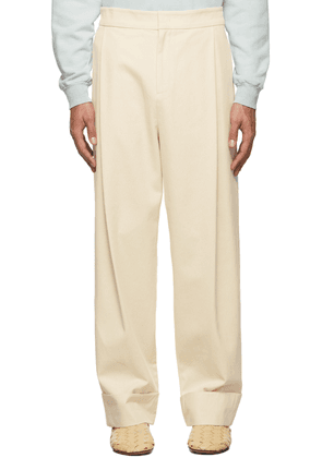 AMOMENTO Off-White Twill Martin Turn Up Trousers