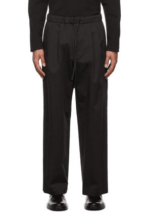 AMOMENTO Black Drawstring Wide Trousers