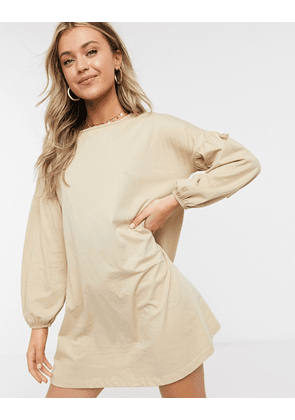 ASOS DESIGN swing mini dress with balloon sleeves in beige-Neutral