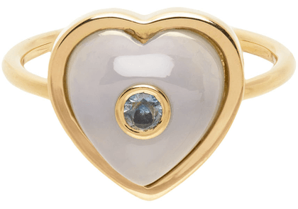 BRENT NEALE Gold & Blue Single Puff Heart Ring