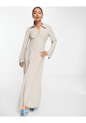 ASOS DESIGN 70s panelled button through maxi shirt dress in taupe-Neutral