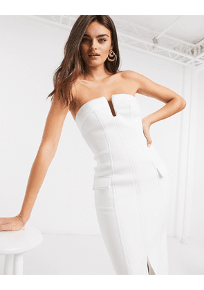 ASOS DESIGN bandeau utility midi pencil dress with contrast top stitch in white