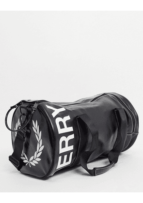 Fred Perry contrast graphic logo barrel bag in black