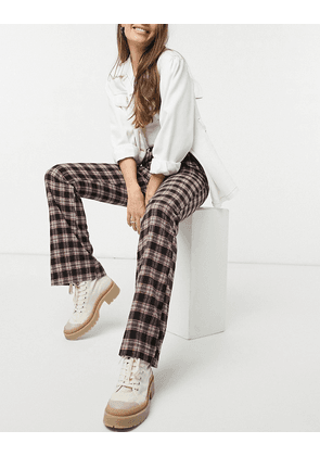 Heartbreak fit and flare trousers in brown and red check-Multi