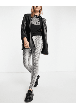 Object leather look legging in snake print-Grey