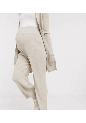 Fashionkilla Maternity knitted flare trouser co ord in oatmeal-Neutral