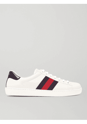 Gucci - Ace Crocodile-Trimmed Leather Sneakers - Men - White - 5