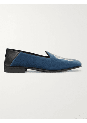Gucci - New York Yankees Gallipoli Collapsible-Heel Leather-Trimmed Embroidered Velvet Loafers - Men - Blue - UK 6.5