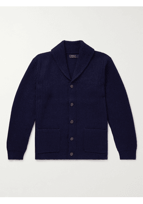 Polo Ralph Lauren - Shawl-Collar Ribbed Wool and Cashmere-Blend Cardigan - Men - Blue - S