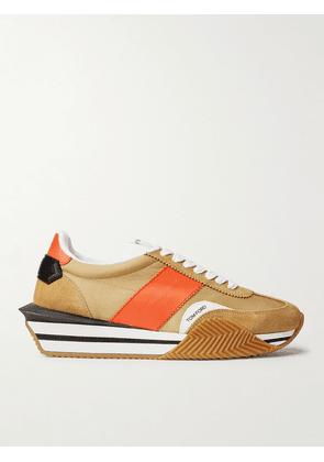 TOM FORD - James Rubber-Trimmed Leather, Suede and Nylon Sneakers - Men - Brown - UK 8