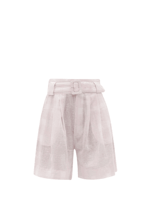 Solid & Striped - The Talia Gingham Cotton-blend Wide-leg Shorts - Womens - Pink