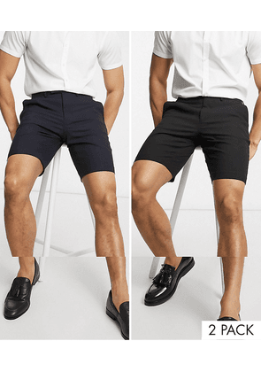 ASOS DESIGN 2 pack slim mid length smart shorts in black and navy SAVE-Multi
